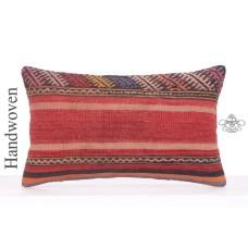 Embroidered Vintage Kilim Pillowcase 12x20 Decorative Sofa Couch Throw