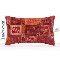 Red Embroidered Decorative Lumbar Kilim Pillow 12x20 Anatolian Cushion