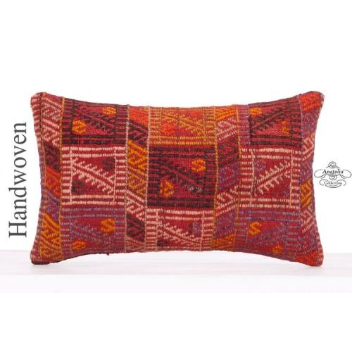 Red Embroidered Decorative Lumbar Kilim Pillow 12x20 Anatolian Cushion