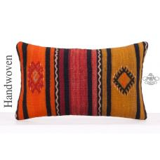 "Retro Striped Lumbar Kilim Pillow Cover 12x20"" Decorative Sofa Throw"