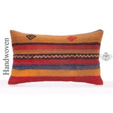 Striped Decorative Throw Pillow 12x20 Colorful Kilim Rug Cushion Cover