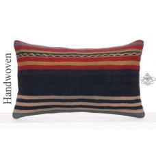 "Striped Vintage Kilim Rug Pillowcase 12x20"" Decorative Lumbar Pillow"