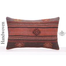 Vintage Embroidered Lumbar Cushion Cover 12x20 Decorative Kilim Pillow