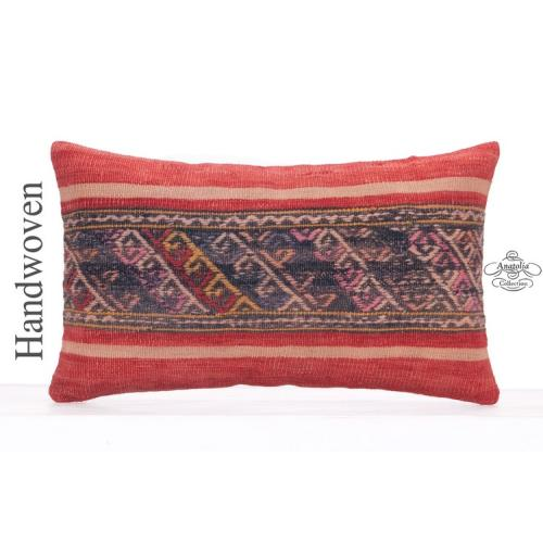 Vintage Embroidered Lumbar Kilim Pillow Cover 12x20 Decorative Cushion