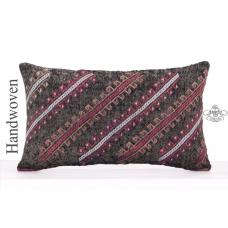 Black Embroidered Pillow Cover 12x20 Designer Lumbar Kilim Rug Cushion