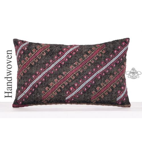 Decorative Black Kilim Pillow Cover 12x20 Embroidered Designer Cushion