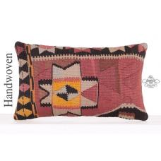 "Ethnic Anatolian Throw Pillow 12x20"" Turkish Hand Woven Cushion Cover"