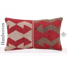 Tribal Nomad Art Lumbar Kilim Pillow 12x20 Unique Designer Rug Cushion