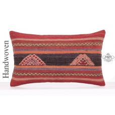 "Vintage Striped Lumbar Kilim Pillowcase 12x20"" Embroidered Rug Cushion"