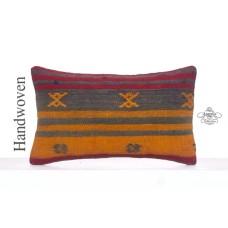 "Antique Lumbar Kilim Pillowcase 12x20"" Ethnic Decorative Rug Cushion"