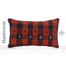 Embroidered Black & Orange Pillowcase Retro Decor Throw Kilim Pillow