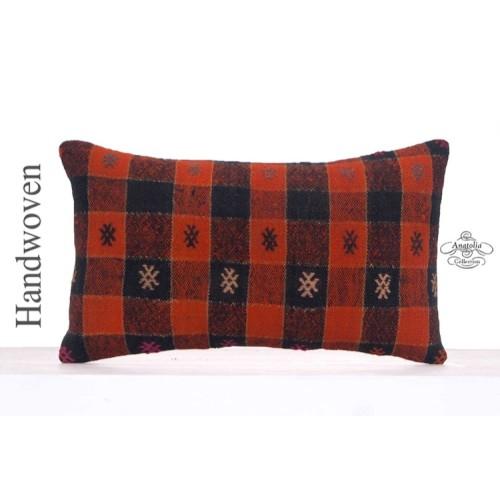 Embroidered Black & Orange Pillowcase Retro Decor Throw Kilim Pillow