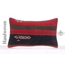 Ethnic Kilim Pillow Throw Striped Turkish Kilim Rug Lumbar Cushion