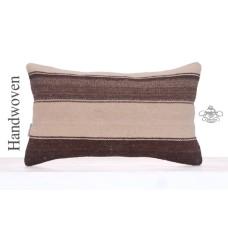 "Natural Beauty Turkish Rug Pillow 12x20"" Striped Organic Kilim Cushion"