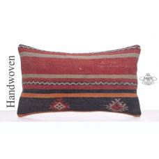 "Striped Lumbar Kilim Pillowcase 12x20"" Vintage Anatolian Rug Pillow"