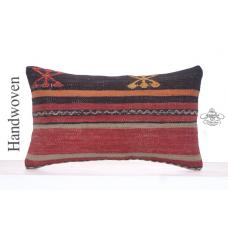 Vintage Cushion Cover Lumbar Striped Handmade Kilim Rug Throw Pillow