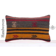 "Vintage Lumbar Kilim Pillow 12x20"" Decorative Ethnic Handmade Cushion"