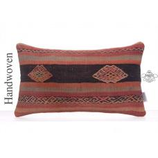 Antique Rug Cushion Cover 12x20 Embroidered Anatolian Kilim Pillowcase
