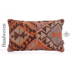 "Colorful Handmade Rug Pillowcase 12x20"" Ethnic Lumbar Kilim Pillow"