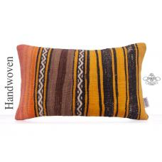 Colorful Striped Pillow Vintage 12x20 Old Handmade Kilim Cushion Cover