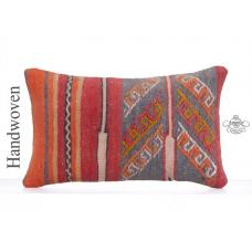 "Embroidered Vintage Kilim Pillow 12x20"" Anatolian Rug Cushion Cover"
