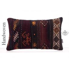 "Lumbar Rug Pillowcase 12x20"" Embroidered Vintage Kilim Throw Pillow"