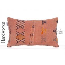 Orange Rug Pillowcase Vintage Embroidered Anatolian Kilim Pillow Cover
