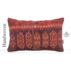 "Semi Antique Rug Cushion 12x20"" Tribal Decorative Kilim Throw Pillow"