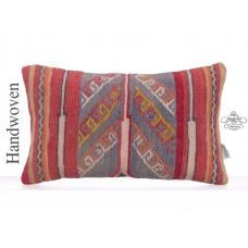 Vintage Lumbar Rug Pillow Cover 12x24 Decorative Anatolian Decor Throw