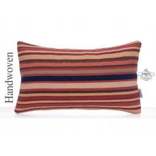 Vintage Rug Pillowcase 12x20 Lumbar Kilim Pillow Striped Cushion Cover