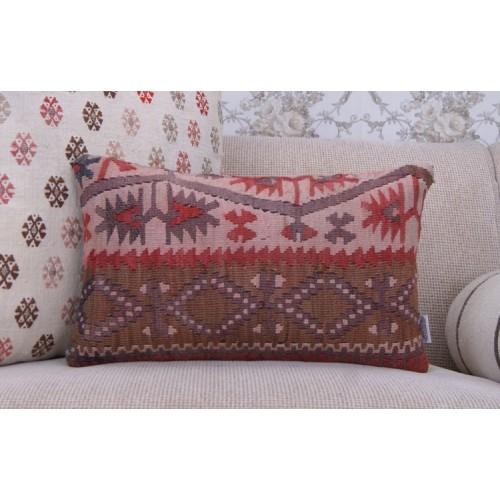 """Anatolian Geometric Kilim Throw Pillow 12x20"""" Antique Rug Cushion Cover"""