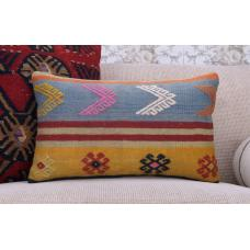 "Bohemian Lumbar Kilim Pillow 12x20"" Embroidered Retro Rug Cushion Cover"