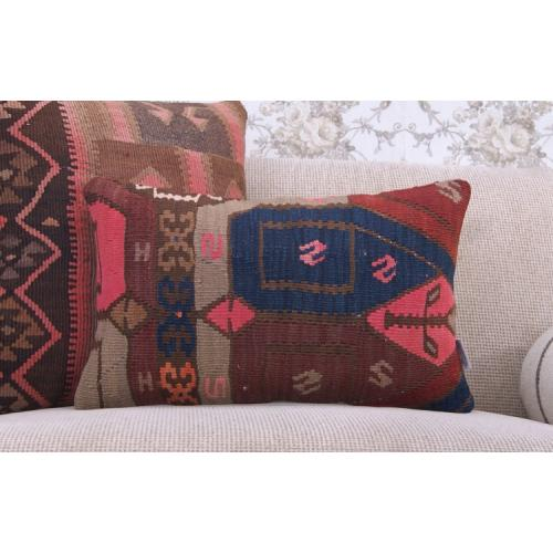 """Bohemian Home Decor Throw Rug Pillow 12x20"""" Lumbar Kilim Cushion Cover"""