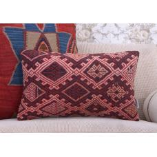 "Embroidered Anatolian Rug Cushion 12x20"" Red Decorative Kilim Pillow"