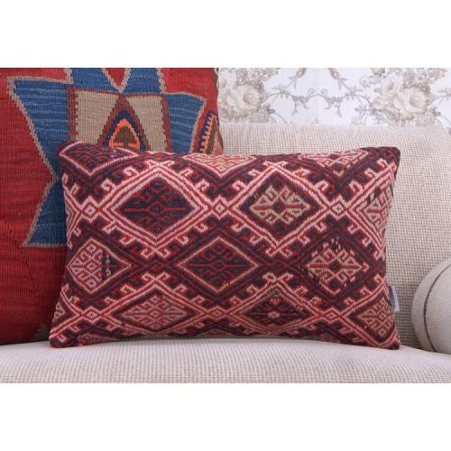 "Embroidered Anatolian Rug Cushion 12x20"" Red Decorative Kilim Pillow"