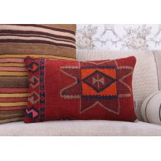 Ethnic Decorative Pillow Cover 12x20 Handmade Turkish Kilim Rug Cushion