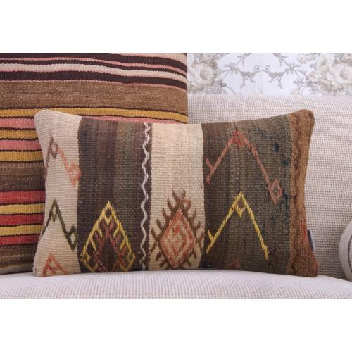 Shabby Cottage Lumbar Kilim Pillow Embroidered Old Vintage Rug Cushion