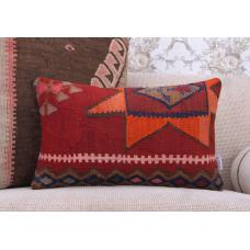 "Southwestern Decorative Kilim Pillow 12x20"" Handmade Lumbar Rug Cushion"