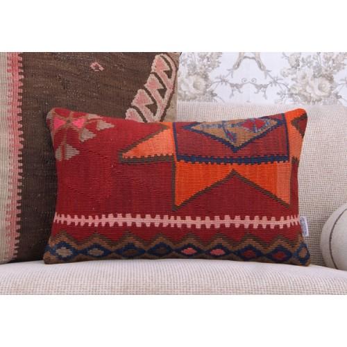 "Southwestern Decorative Kilim Pillow 12x20"" Handmade Lumbar Rug Cushion"