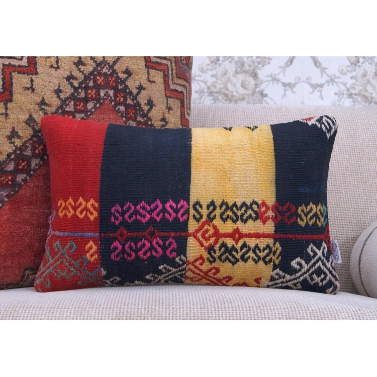 Colorful Outdoor Decoration Accent Kilim Pillow Ethnic Lumbar