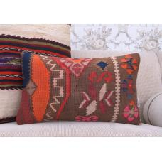 "Eclectic Decor Accent Lumbar Rug Pillow 12x20"" Handmade Kilim Cushion"