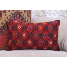 "Red Lumbar Kilim Pillow 12x20"" Decor Accent Cushion Handmade Rug Throw"