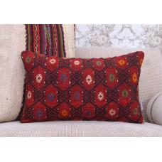 "Red Sofa Decor Throw Kilim Pillow 12x20"" Embroidered Rug Cushion Cover"