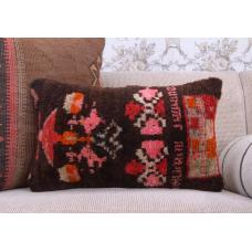 "Bohemian Style Home Decor Pillow 12x20"" Handmade Turkish Rug Cushion"