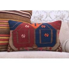 "Colorful Bohemian Lumbar Kilim Pillow Throw 12x20"" Turkish Rug Cushion"