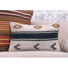 "Contemporary Striped Kilim Pillow 12x20"" Decorative Turkish Rug Throw"