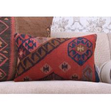 "Eastern Handmade Kilim Pillow 12x20"" Vintage Turkish Rug Cushion Cover"