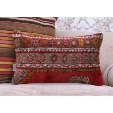 "Oriental Turkish Rug Pillow 12x20"" Handmade Anatolian Lumbar Cushion"