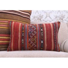 "Striped Decorative Lumbar Kilim Pillowcase 12x20"" Retro Throw Pillow"