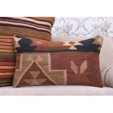 "Tribal Hand Woven Kilim Rug Pillowcase 12x20"" Anatolian Lumbar Pillow"